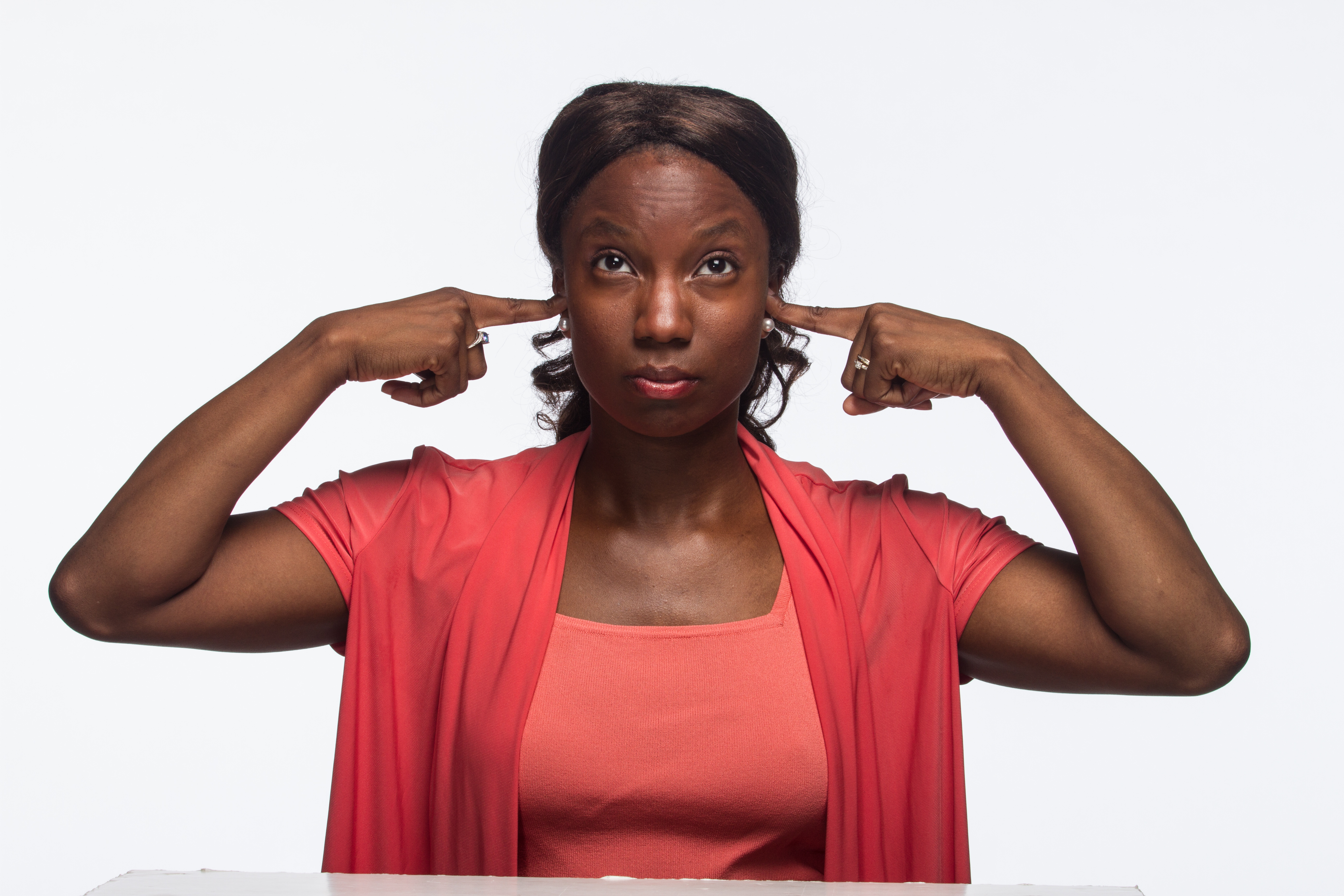 Hear no evil, Young African American woman - horizontal